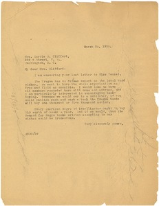 Thumbnail of Letter from W. E. B. Du Bois to Carrie W. Clifford