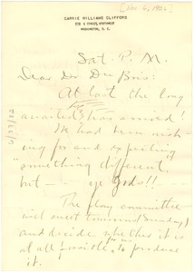 Thumbnail of Letter from Carrie Clifford to W. E. B. Du Bois