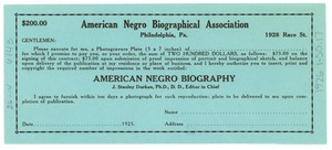 Thumbnail of $200 contract for photogravure  plate portrait in the American Negro Biography