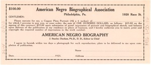 Thumbnail of $100 contract for copper plate portrait in the American Negro Biography