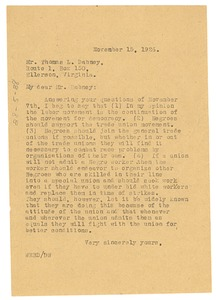 Thumbnail of Letter from W. E. B. Du Bois to Thomas L. Dabney