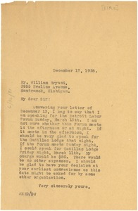 Thumbnail of Letter from W. E. B. Du Bois to The Elks, Cadillac Lodge
