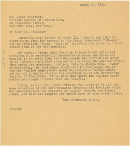 Thumbnail of Letter from W. E. B. Du Bois to Angus Fletcher