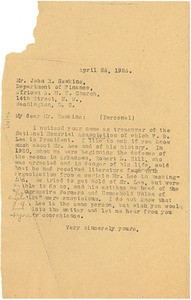 Thumbnail of Letter from W. E. B. Du Bois to John R. Hawkins