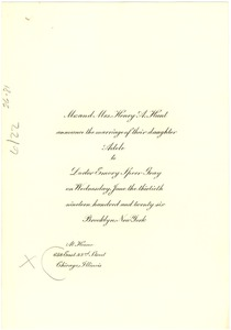 Thumbnail of Mr and Mrs. Henry A. Hunt announce the marriage of their daughter Adele