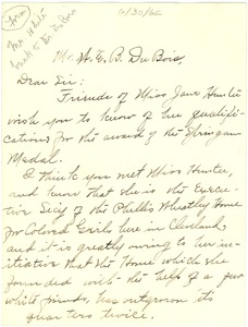 Thumbnail of Letter from Lula W. James to W. E. B. Du Bois