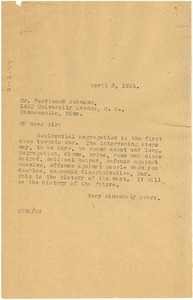 Thumbnail of Letter from W. E. B. Du Bois to Ferdinand Johnson