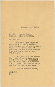 Thumbnail of Letter from W. E. B. Du Bois to Harrison W. Keach