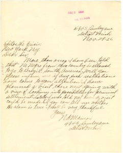 Thumbnail of Letter from N. O. Mainor to the editor of the Crisis