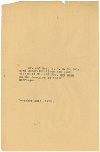 Thumbnail of Letter from Mr. and Mrs. W. E. B. Du Bois to Mr. and Mrs. Roy Nash