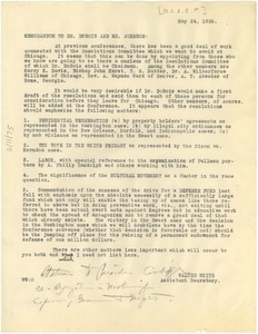 Thumbnail of Memorandum from Walter White to W. E. B. Du Bois and James Weldon Johnson