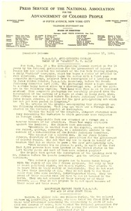 Thumbnail of Press releases from the Press Service of the NAACP