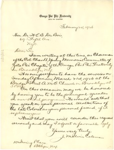 Thumbnail of Letter from Omega Psi Phi Fraternity to W. E. B. Du Bois