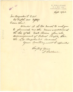Thumbnail of Letter from E. Palleske to Augustus G. Dill