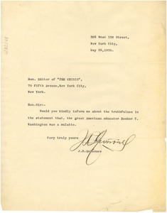 Thumbnail of Letter from J. R. Quiñones to the editor of The Crisis.