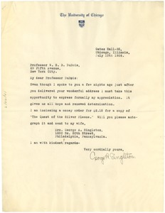 Thumbnail of Letter from George A. Singleton to W. E. B. Du Bois