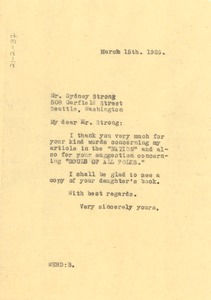 Thumbnail of Letter from W. E. B. Du Bois to Sydney Strong