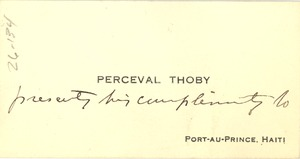 Thumbnail of Note from Perceval Thoby to W. E. B. Du Bois