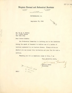 Thumbnail of Letter from Virginia Normal and Industrial Institute to W. E. B. Du Bois
