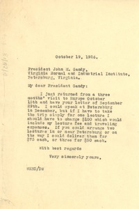 Thumbnail of Letter from W. E. B. Du Bois to Virginia Normal and Industrial University