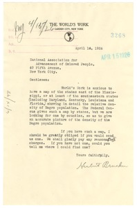 Thumbnail of Letter from The World's Work to the NAACP