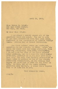 Thumbnail of Letter from W. E. B. Du Bois to Edwina M. Wright