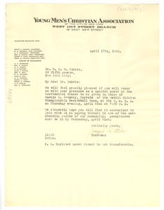 Thumbnail of Letter from Young Men's Christian Association of the City of New York to W. E. B. Du Bois