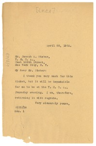 Thumbnail of Letter from W. E. B. Du Bois to Young Men's Christian Association of the City of New York