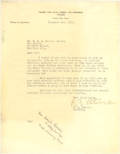 Thumbnail of Letter from R. B. Atwood to W. E. B. Du Bois
