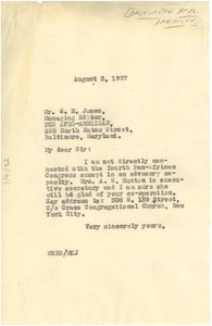 Thumbnail of Letter from W. E. B. Du Bois to W. N. Jones