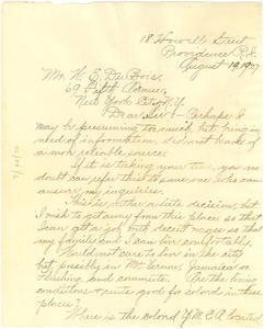 Thumbnail of Letter from William I. Bent to W. E. B. Du Bois