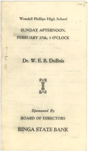 Thumbnail of Program for Dr. W. E. B. Du Bois at Wendell Phillips High School
