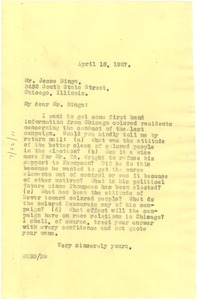 Thumbnail of Letter from W. E. B. Du Bois to Jesse Binga