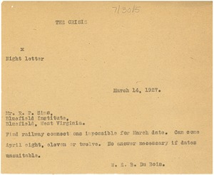 Thumbnail of Letter from W. E. B. Du Bois to R. P. Sims