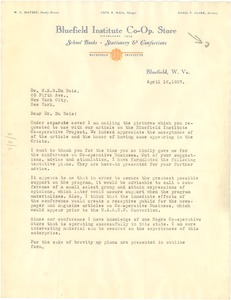 Thumbnail of Letter from Bluefield Institute Co-op Store to W. E. B. Du Bois