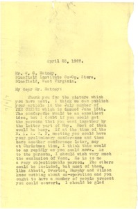 Thumbnail of Letter from W. E. B. Du Bois to Bluefield Institute Co-Op Store