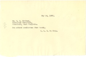 Thumbnail of Letter from W. E. B. Du Bois to W. C. Matney