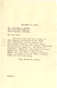 Thumbnail of Letter from W. E. B. Du Bois to Theodore R. Brown