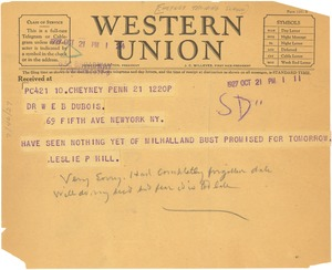 Thumbnail of Letter from Cheyney Training School for Teachers to W. E. B. Du Bois