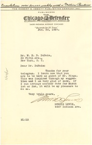 Thumbnail of Letter from Morris Lewis to Daisy V. Wilson