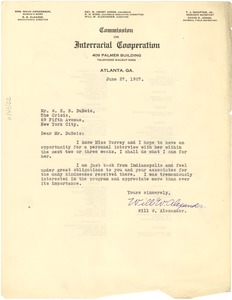 Thumbnail of Letter from Will W. Alexander to W. E. B. Du Bois