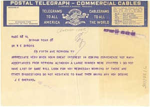 Thumbnail of Telegram from The Durham Conference to W. E. B. Du Bois