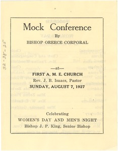 Thumbnail of Mock conference by Bishop Oreece Corporal