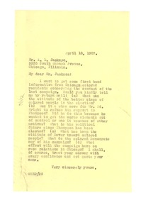 Thumbnail of Letter from W. E. B. Du Bois to A. L. Jackson