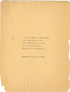 Thumbnail of Note from Dr. and Mrs. W. E. B. Du Bois to Mr. and Mrs. Paul E. Johnson