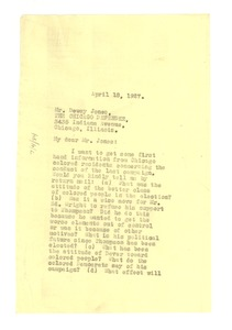 Thumbnail of Letter from W. E. B. Du Bois to Dewey Jones