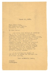 Thumbnail of Letter from W. E. B. Du Bois to Athel King