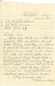 Thumbnail of Letter from Lueddeman Mayse to W. E. B. Du Bois