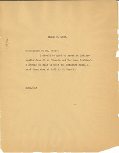 Thumbnail of Memorandum from W. E. B. Du Bois to Walter White