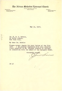 Thumbnail of Letter from John Hurst to W. E. B. Du Bois